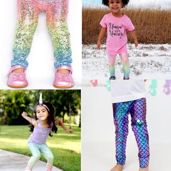 66463b7c898c21 Pants | Unicorn Mermaid Scale Leggings Kids | Poshmark